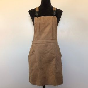 Cache Dress XL Suede Overall Suspender Chain Mini